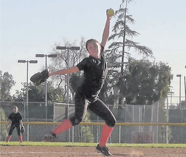 Lady Don's pitcher Alyssa Arroyo shows great form.