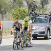 """AMGEN Tour of California riders on their way through Tujunga Canyon at Oro Vista. The first group of four riders are the """"breakaway pack"""" leaders."""