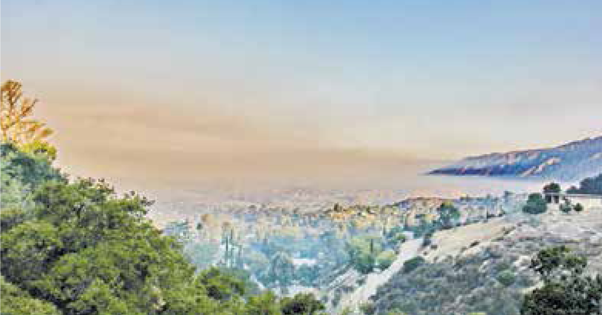Smoke from the Santa Barbara and the Azusa fires filled the Tujunga basin.