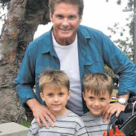 The Shone twins, Chris and Nick, with David Hasselhoff during the Sharnado 4 filming