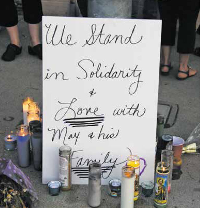 A simple memorial on Foothill Blvd. marks a great loss.
