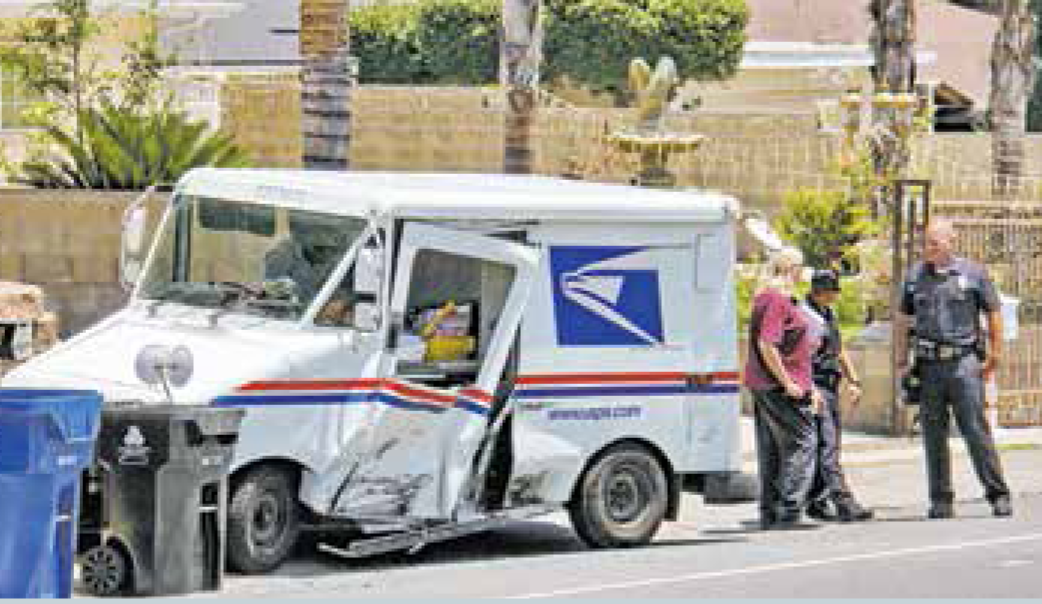 "This gives new meaning to the term ""going postal"" when a distracted driver side-swiped this truck."