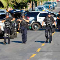 LAPD officers from Metro Division gear up for a possible gun battle on Wescott and Grove in Sunland