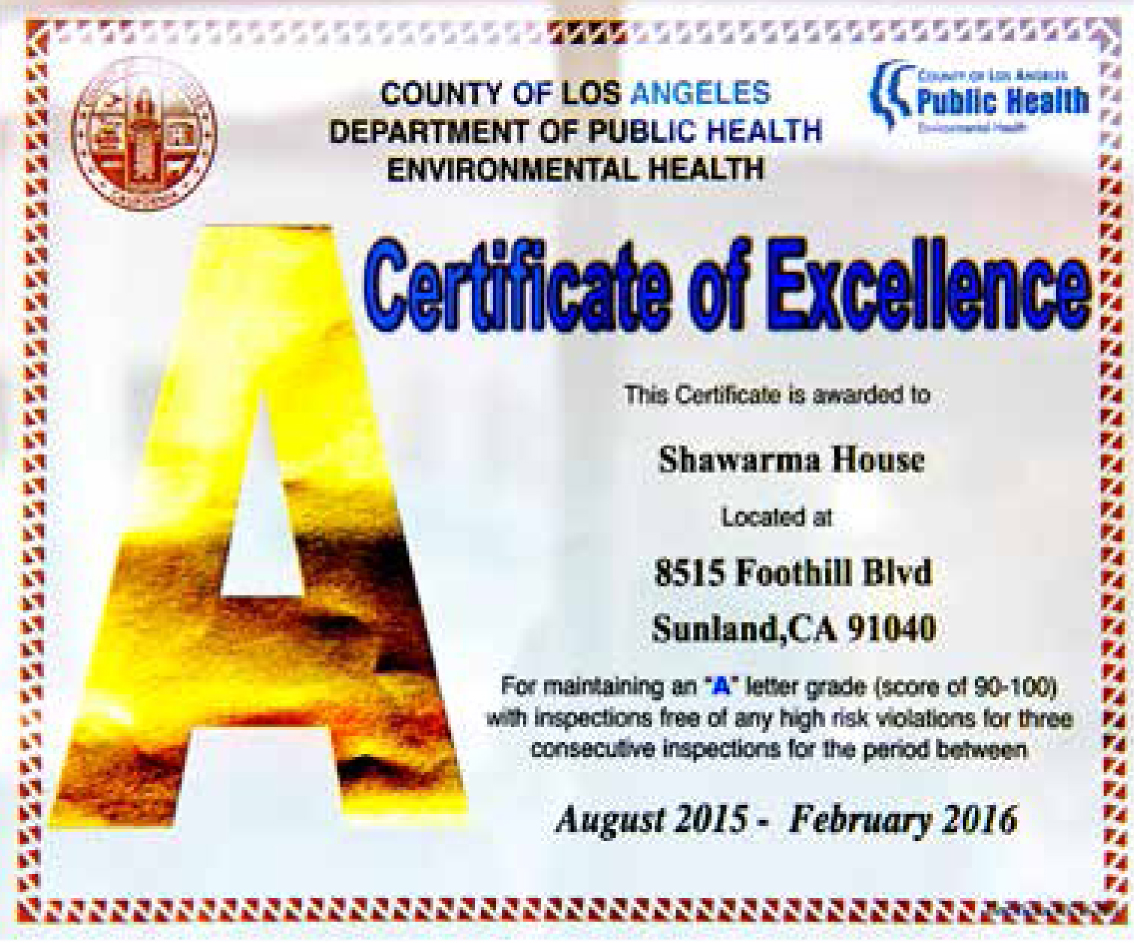The highly coveted Certificate of Excellence.