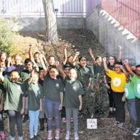 Pinewood school students show their appreciation for the new gardens.