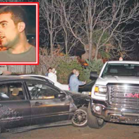 The white GMC 2500 HD truck blocked suspects' escape. inset: Local hero Narek Nadzharyan.