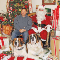 Two really large St. Bernard Dogs sit for their photo.