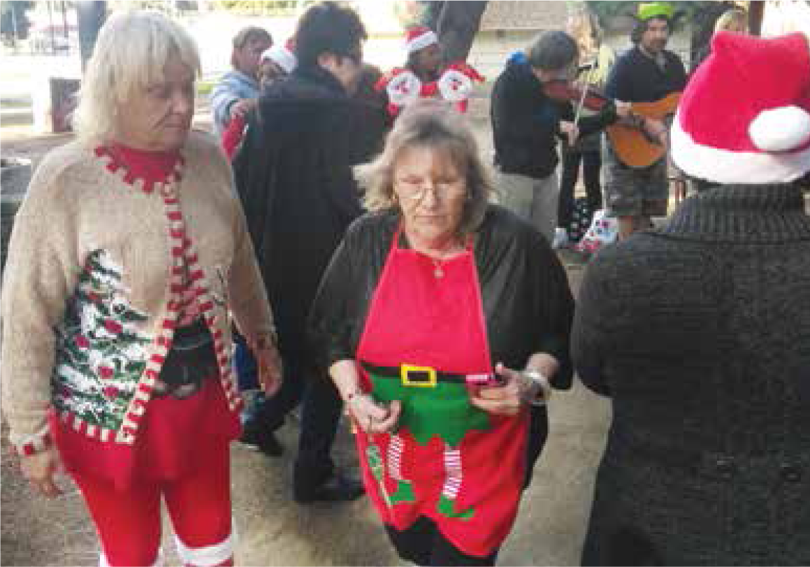 The day was cold, the soup was hot and Pattee's elves were passing out good cheer