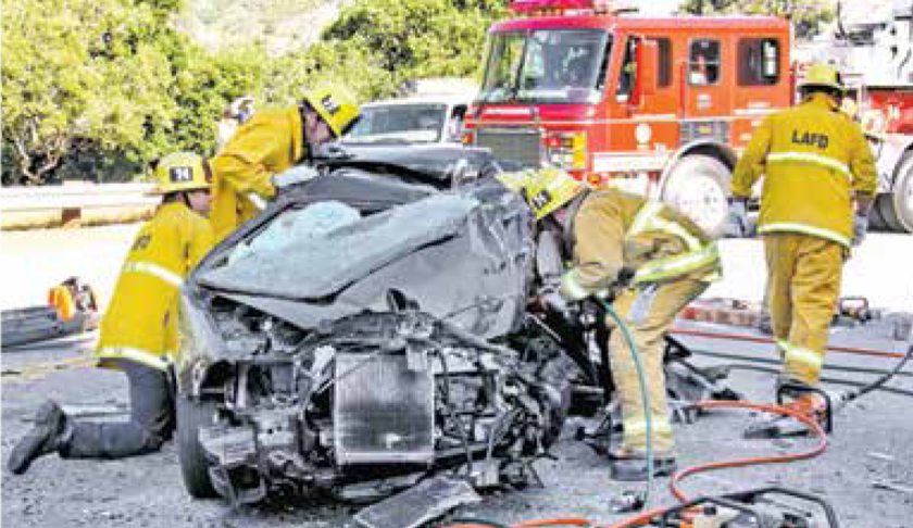 Carnage continues on la tuna canyon road firefighters use jaws of life to extricate trapped driver fandeluxe Gallery