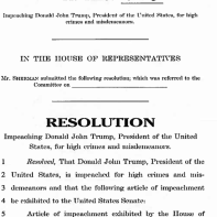 The opening salvo from House Resolution 438 calling for the U.S. President's impeachment.